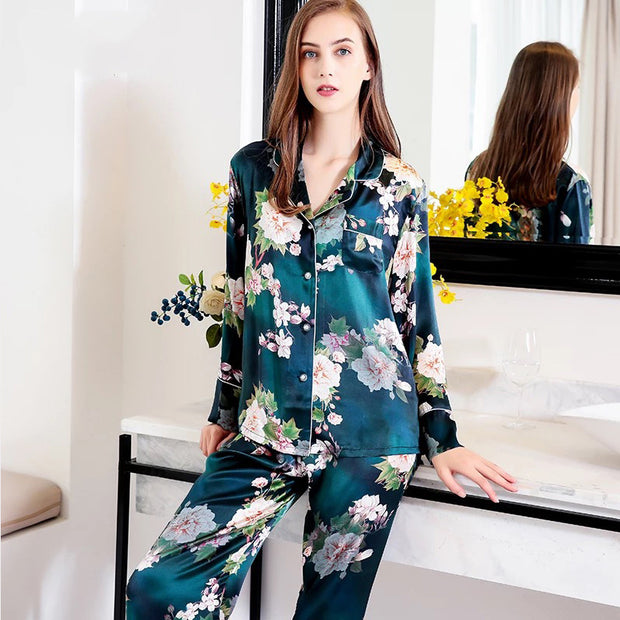 2020 New Collection 19 Momme Green Printed Silk Pajamas Set