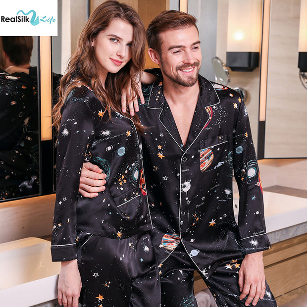 22 Momme Black Printed Silk Pajamas Set For Couple