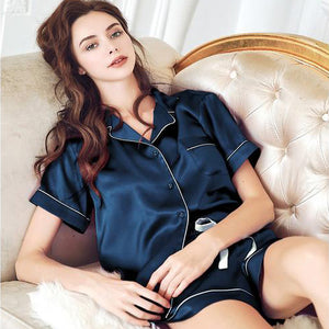 Women's Classic Silk Pajamas Set Short (Multi-Color Selected)