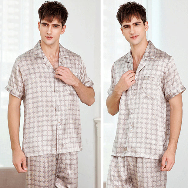 19 Momme Short Sleeves With The Long Pant Silk Pajamas Set