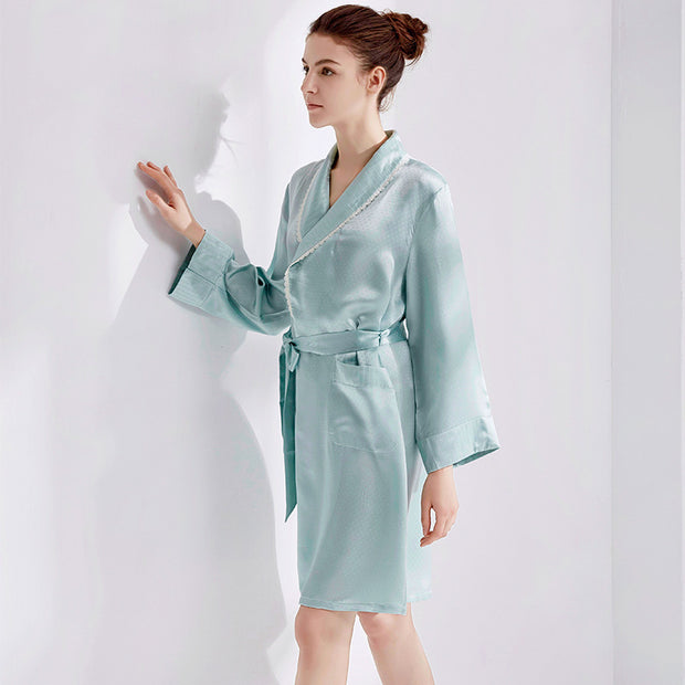 22 Momme High Quality Sky Blue Silk Robe One Piece
