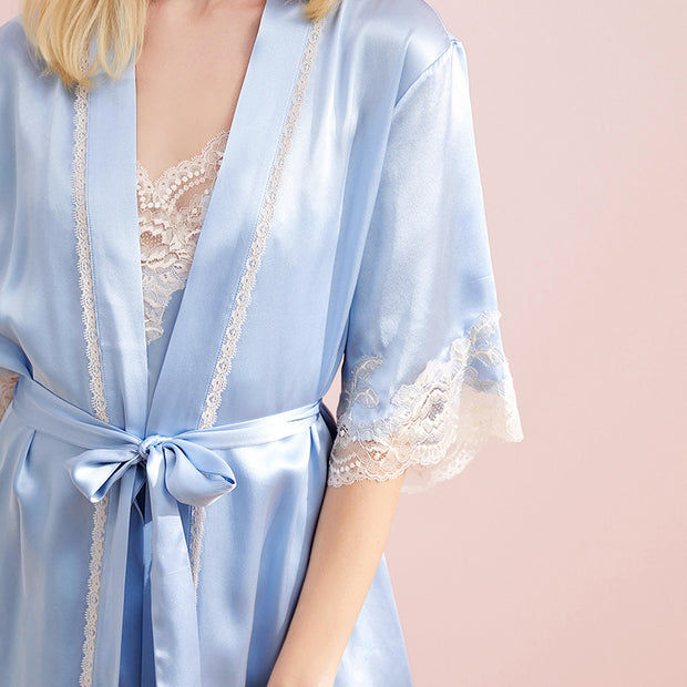 30 Momme Luxury Short Sleeves Silk Robe Set | Two Colors Selected