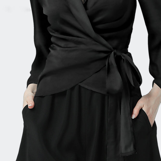 Women Black V Neck Silk Blouse
