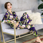 19 Momme Women's Purple Printed Real Silk Pajamas Set