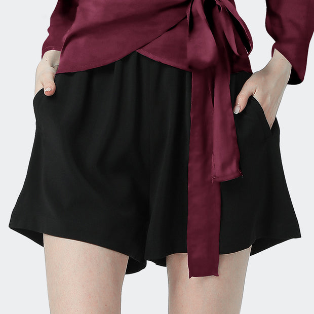 Women Wine V Neck Long Sleeves Wrap Silk Blouse