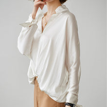 Women White Relaxed Fit Stand Collar Silk Shirt