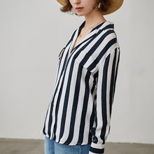 Women Stripe Printed Silk Blouse