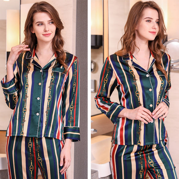 22 Momme Women's Vintage Printed Strip Silk Pajamas Set (Two Colors Selected)