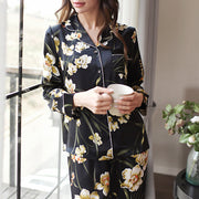 22 Momme Women's  Printed Real Silk Pajamas Set Black