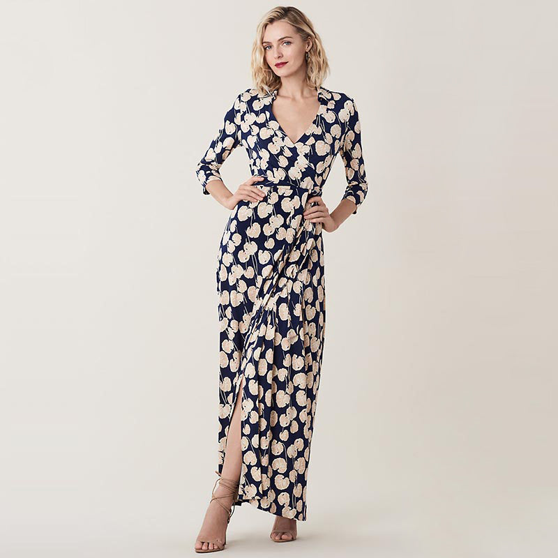 Women Printed Figure-Flatting Silk Dress