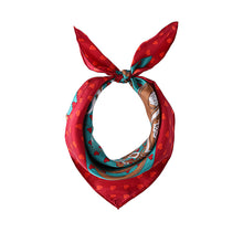 Women Twill Lovely Heart Silk Square Scarf