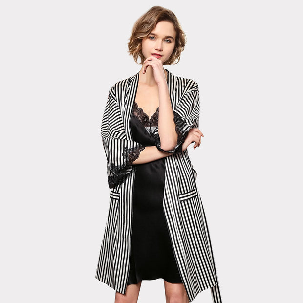 30 Momme Luxury Women's Design 2019 Lacey Silk Robe Set-Two Pieces