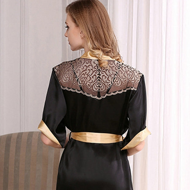 22 Momme High Quality Women's Sexy Chic Lacey Silk Robe Set-Two Pieces