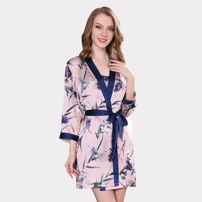 22 Momme High Quality Women's Printed Silk Robe Set-Two Pieces