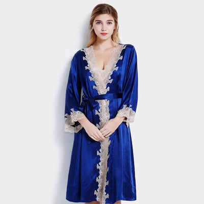 19 Momme Women's Contra Trim And Full Length Silk Robe