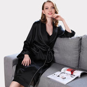 22 Momme High Quality Women's Contra Trim And Full Length Silk Robe