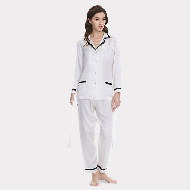 22 Momme Women's Elegant Silk Pajamas Set White