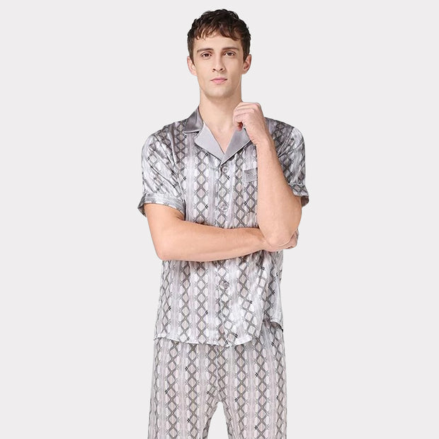 19 Momme Printed Design Silk Pajamas Set for Men