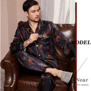 22 Momme High Quality Printed Silk Pajamas Set for Men