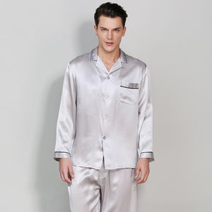 High Quality Classic Silk Pajamas Set with Contrast Piping for Men