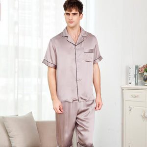 Classic Short Sleeve Silk Pajamas Set for Men
