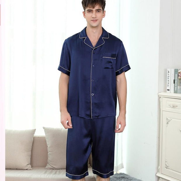 19 Momme Classic Short Sleeve Silk Pajamas Set for Men