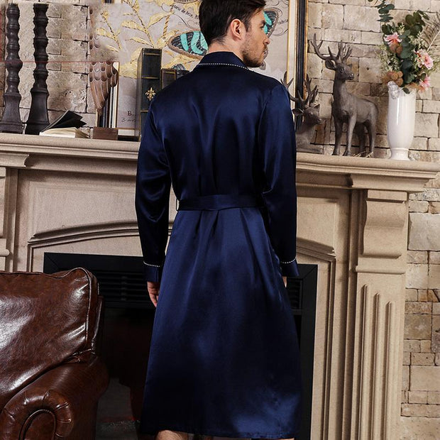 22 Momme High Quality Navy Blue Silk Robe for Men