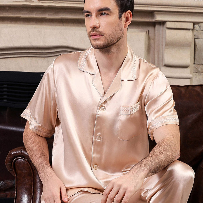 Luxury High Quality Chic Silk Pajamas Set for Men