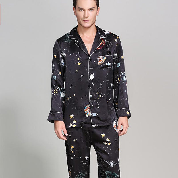 22 Momme High Quality Chic Printed Silk Pajamas Set for Men