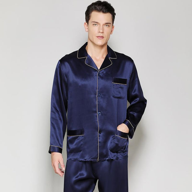 22 Momme High Quality Men's Luxury Navy Blue Long Silk Pajamas with Trimming