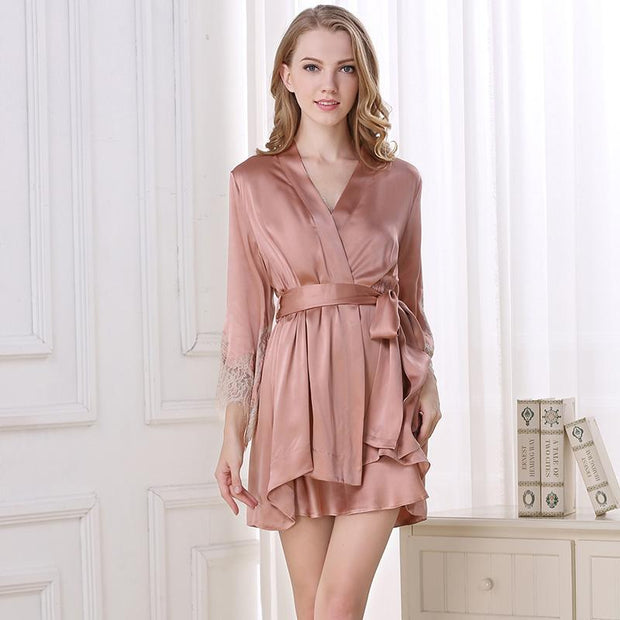 22 Momme High Quality Women's Lacey Silk Robe Set-Two Pieces