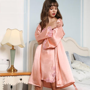 Sexy Lacey Silk Robe Set-Two Pieces