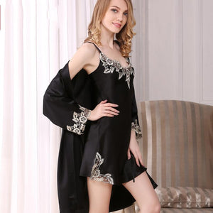 Women's Chic Lacey Silk Robe Set-Two Pieces