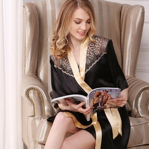Women's Sexy Chic Lacey Silk Robe Set-Two Pieces