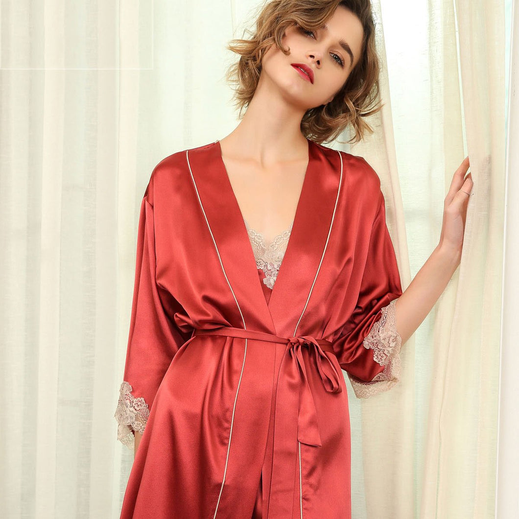 Women's Red Lacey Silk Robe Set-Two Pieces
