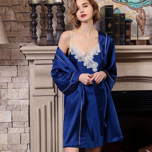 Women's High Quality Lacey Silk Robe Set-Two Pieces