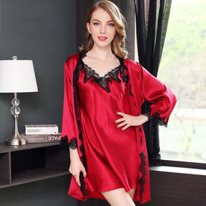 Women's Classic Sexy Lacey Silk Robe Set-Two Pieces