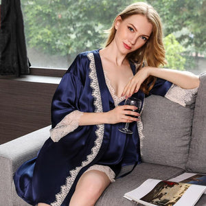 Women's Trimmed Silk Robe Set-Two Pieces
