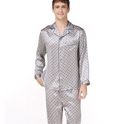 19 Momme Silver Grey Printed Long Silk Pajamas Set