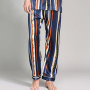 19 Momme Blue Stripe Printed Silk Pajams Set For Men