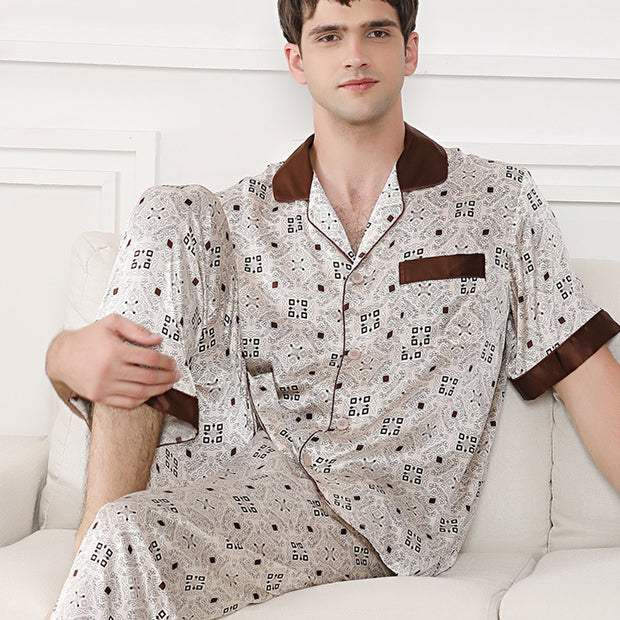 22 Momme High Quality Lattice Printed Silk Pajamas Set For Men