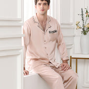22 Momme High Quality Beige Silk Pajamas Set For Men