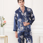 22 Momme High Quality Blue Folower Printed Pajamas Set For Men