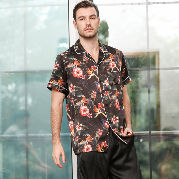 22 Momme High Quality Black Flower Printed Life Style Silk Pajamas Set For Men
