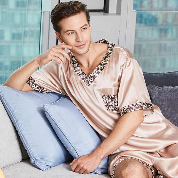 22 Momme High Quality Life Style Short Silk Pajamas Set For Men