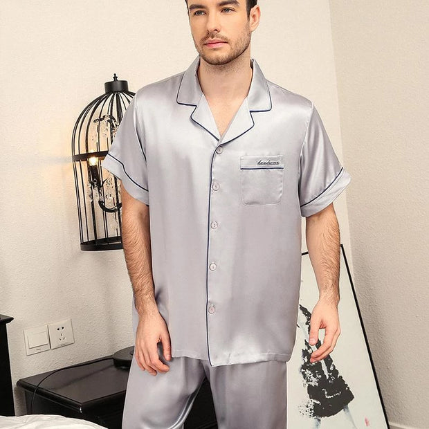 22 Momme High Quality Short Silk Pajamas Set for Men