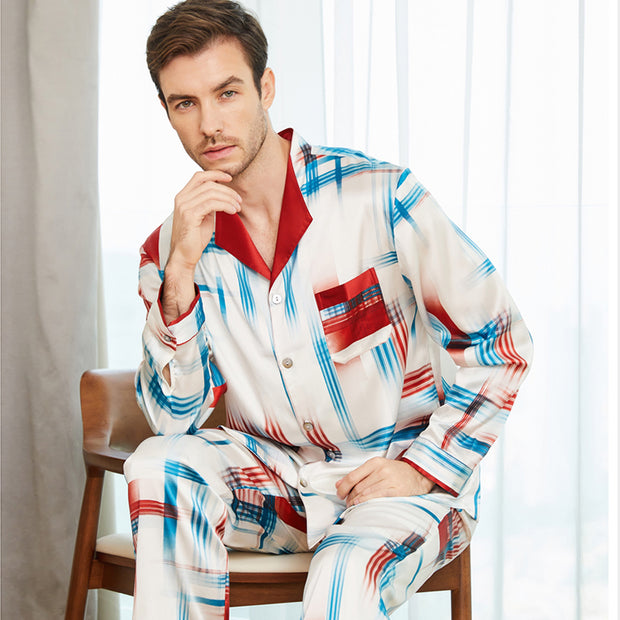 22 Momme High Quality Fashion Pure Silk Pajamas Set For Men