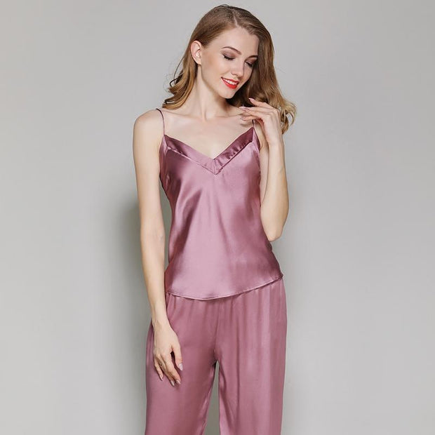 22 Momme High Quality Women's Classic Long Silk Camisole Set
