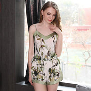 19 Momme Women's Elegant Printed Short Silk Camisole Set