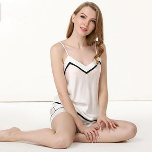 Women's High Quality Short Silk Camisole Set